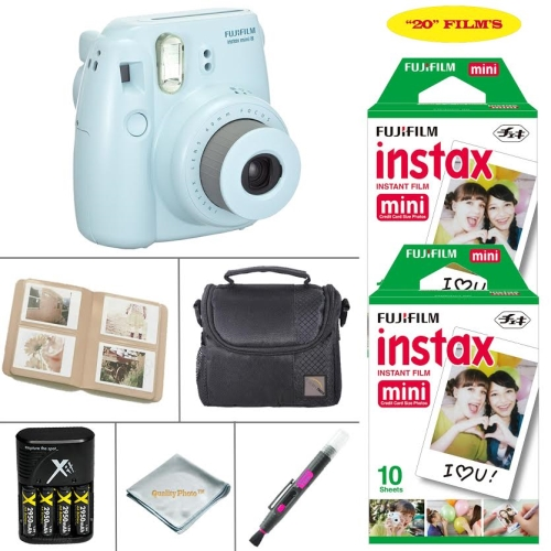 Fujifilm Mini 8 Instant Film Camera - Fujifilm Instax Film Twin-Pack 20 SHEETS - Battery & Cahrger - Photo Album - Case