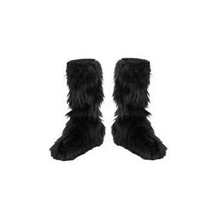 Halloween Costume Wearing Boots (Black Fuzzy Boot Covers Child Halloween Costume)