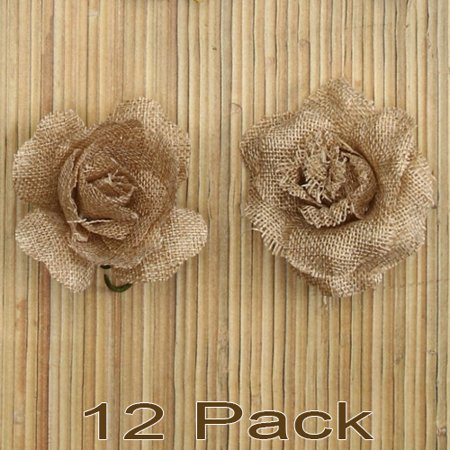 Russia Flower (12 Burlap Rose Heads Rustic Flower Vintage Wedding Handmade DIY Crafts Scrapbooking Jute Decoration Boda)