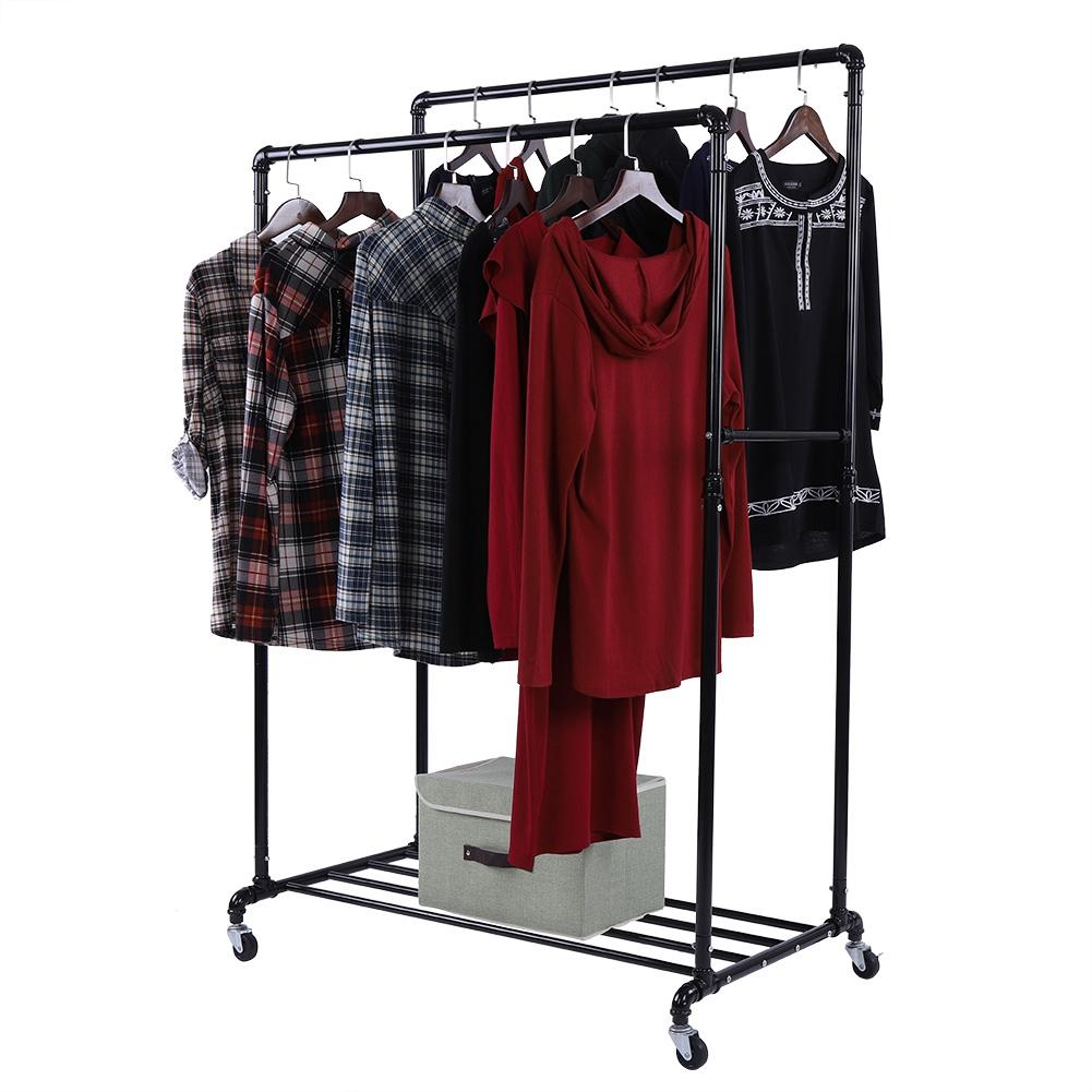 Metal Rolling Double Rails Garment Clothes Coat Rack Organizer Hanger