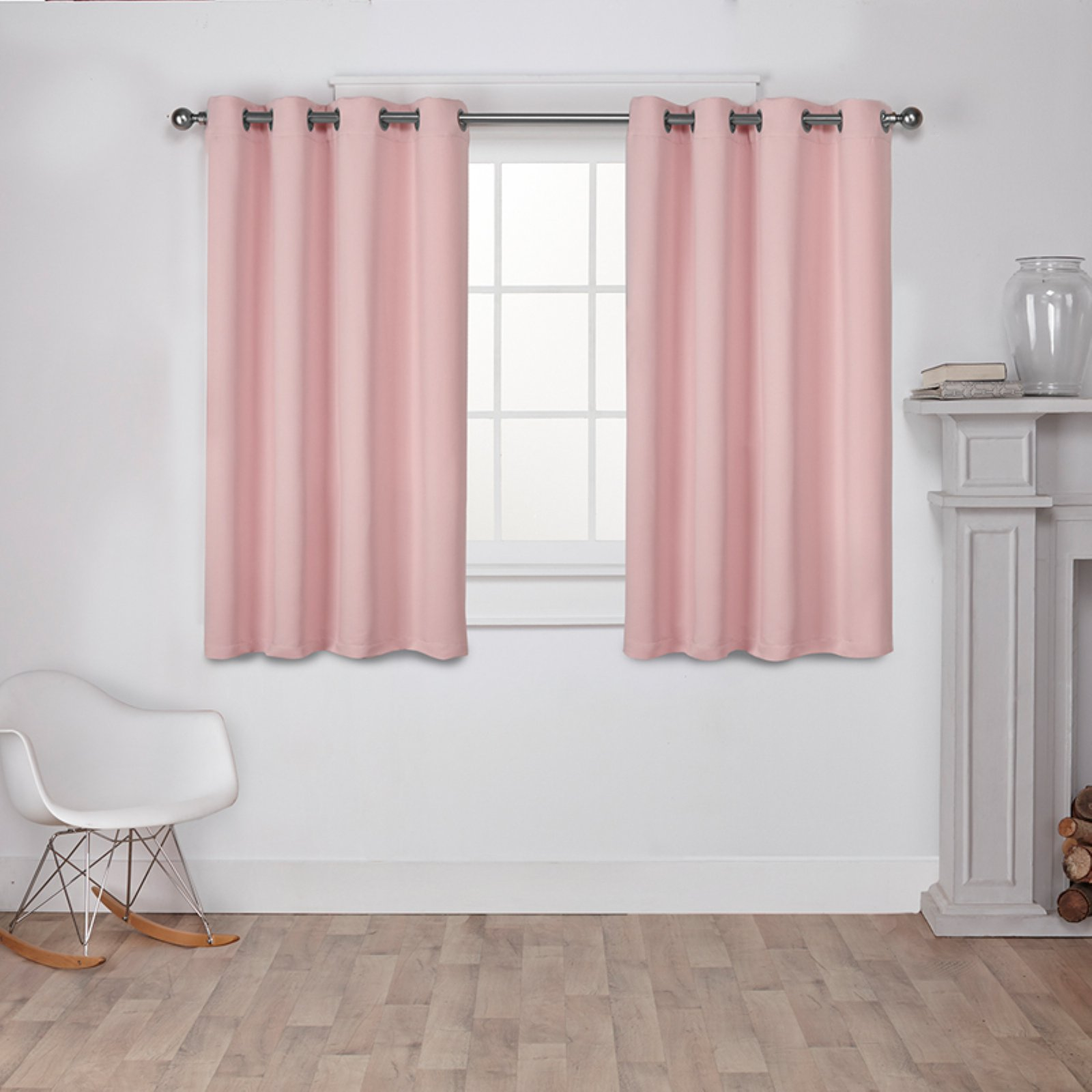 Sateen Woven Blackout Grommet Top Window Curtain Panel Pair