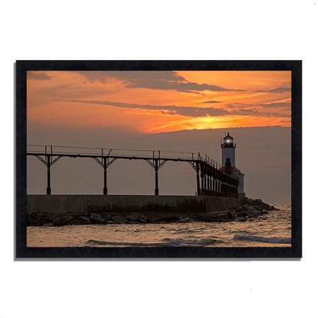 michigan city east pierhead 39 x 27 framed photograph print black frame. Black Bedroom Furniture Sets. Home Design Ideas