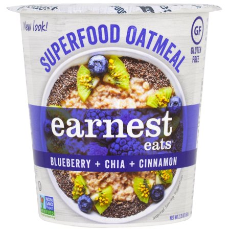 Earnest Eats, SuperFood Oatmeal Cup, Blueberry + Chia + Cinnamon, Superfood Blueberry Chia, 2.35 oz (pack of