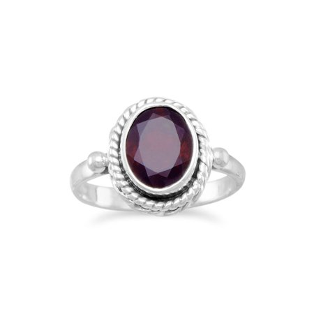 Sterling Silver Oval Faceted Garnet Ring With Rope Edge Design Stone Is 9.5mmx6.5mm - Ring Size: 4 to 9 Design Garnet Ring