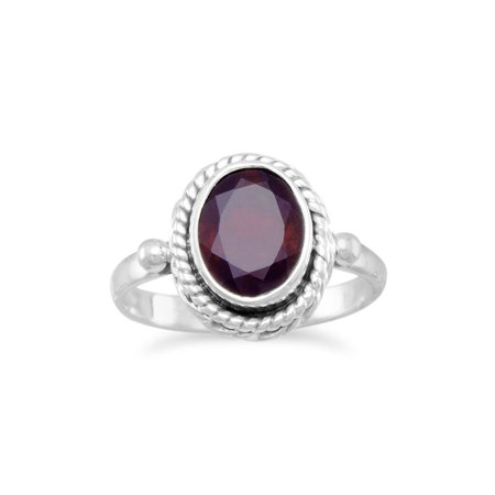 Sterling Silver Oval Faceted Garnet Ring With Rope Edge Design Stone Is 9.5mmx6.5mm - Ring Size: 4 to 9