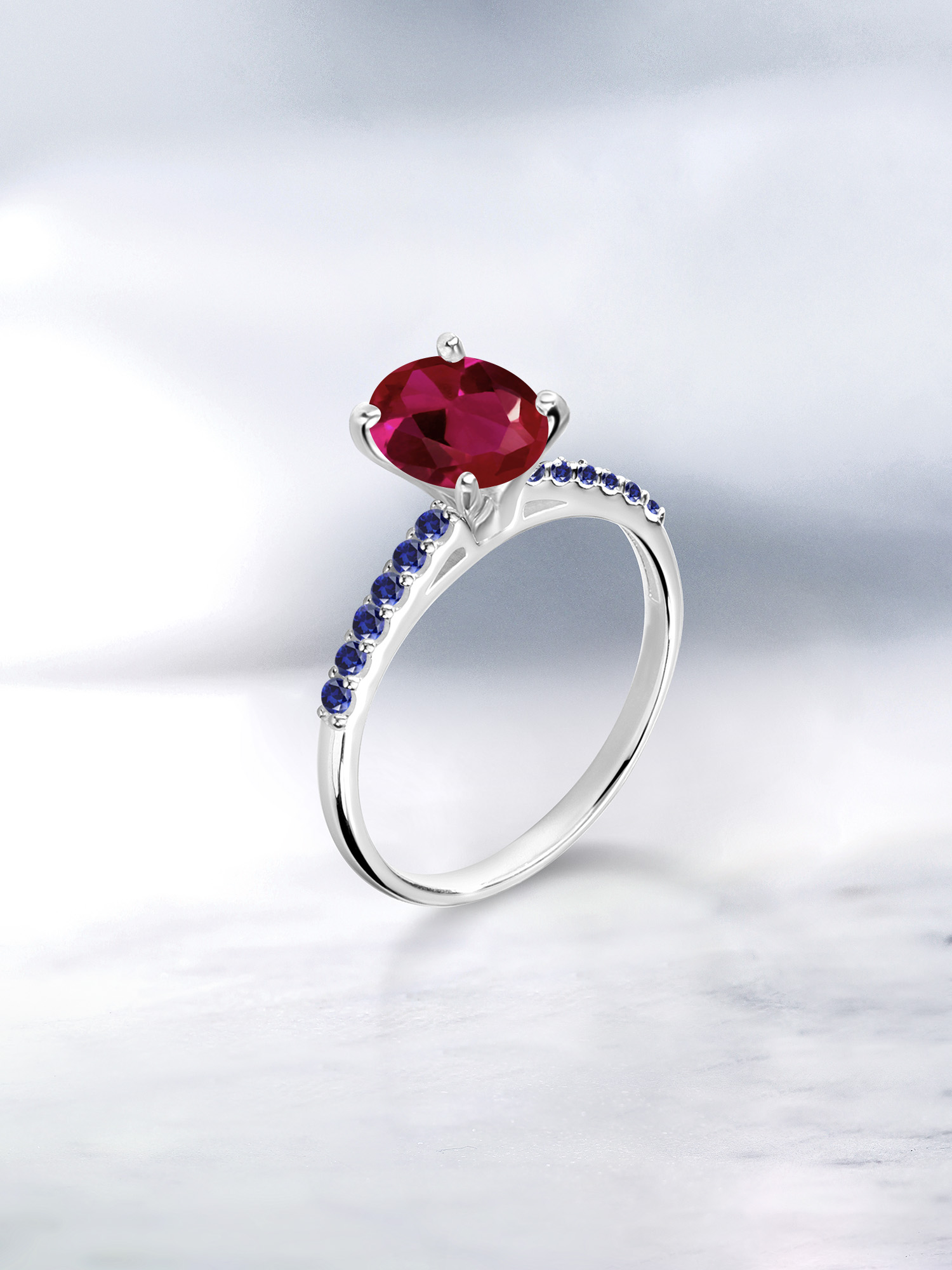 1.24 Ct Oval Red Created Ruby White Created Sapphire 925 Sterling Silver Ring