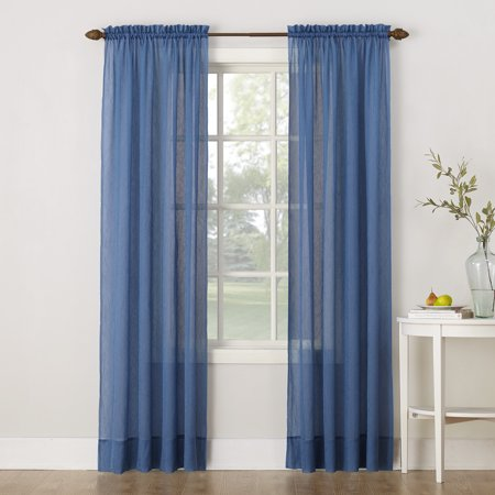 No. 918 Erica Crushed Sheer Voile Rod Pocket Curtain Panel - Blue And Yellow Curtains