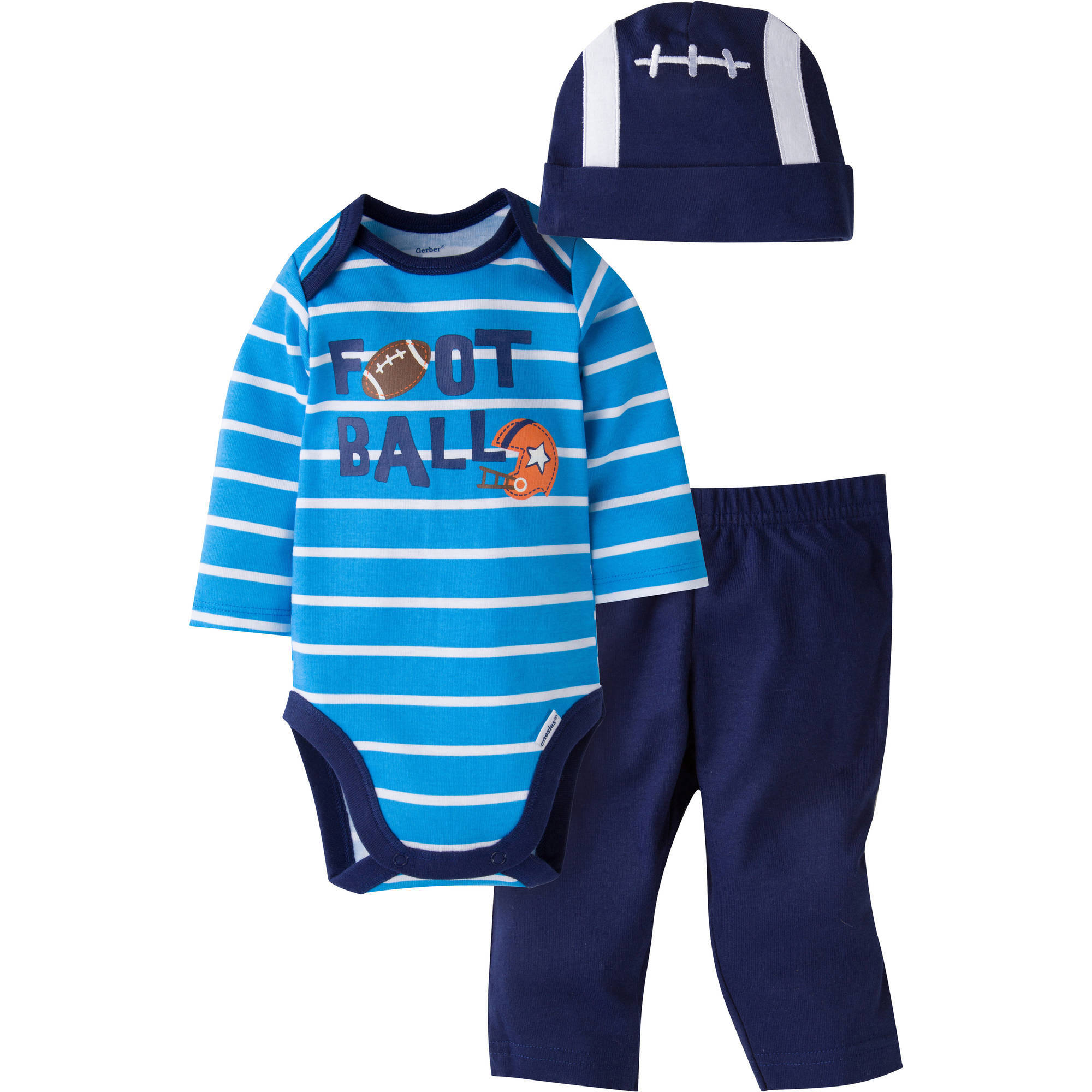 Gerber Newborn Baby Boy Bodysuit, Pant, and Cap Outfit Set, 3-Piece