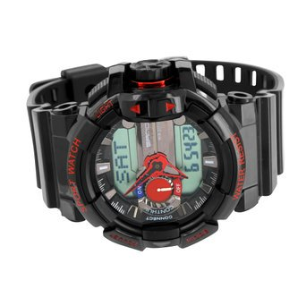 - Sports Watches For Men Red Black Shock Resistant Dual Display Digital Analog
