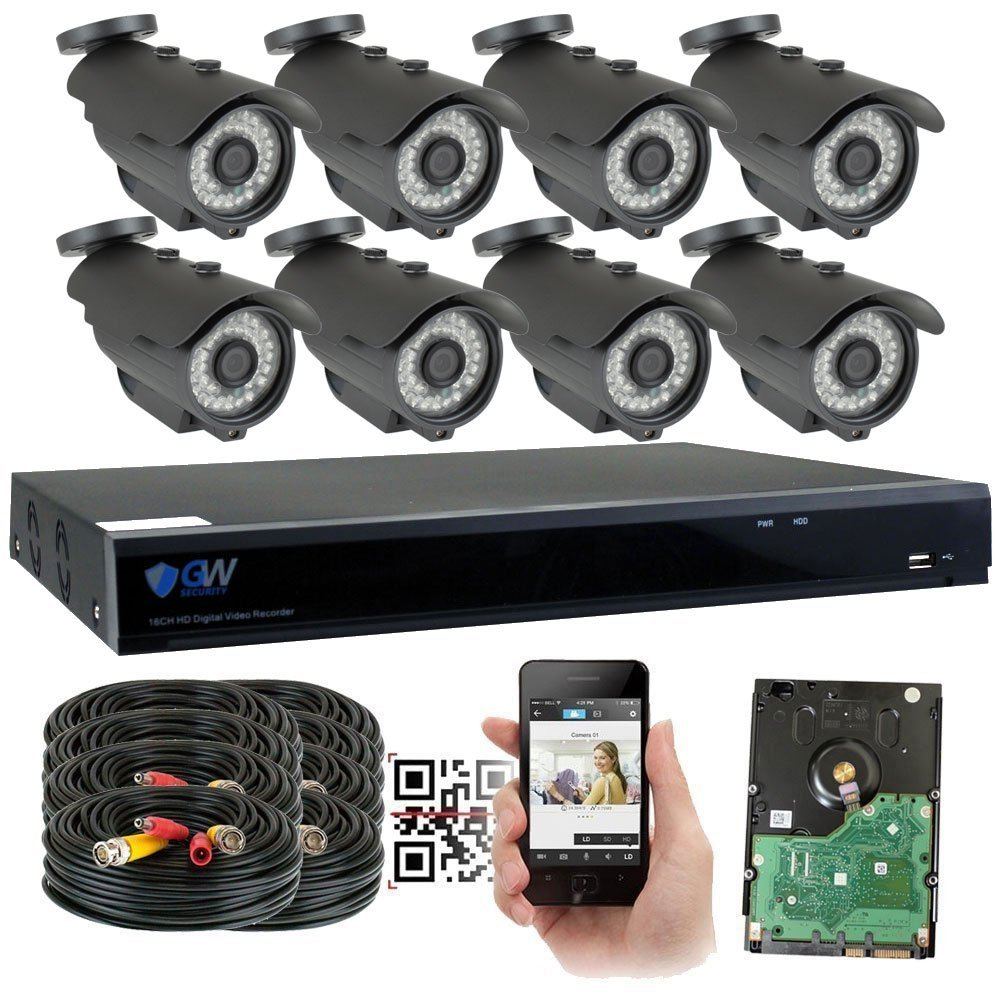 GW 8 Channel 5MP 1920P Home Video Outdoor Security Camera System w/ 8 5MP CCTV Cameras, 8CH 2TB DVR Surveillance Kit, 100ft Night Vision