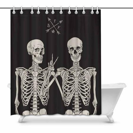 MKHERT Funny Human Skeletons Best Friends Posing Decor Waterproof Polyester Bathroom Shower Curtain Bath Decorations 60x72