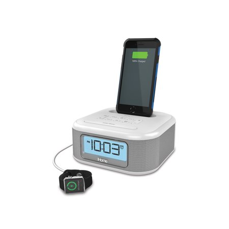 ihome ipl23v2 stereo fm clock radio with lightning connector and usb charging white. Black Bedroom Furniture Sets. Home Design Ideas