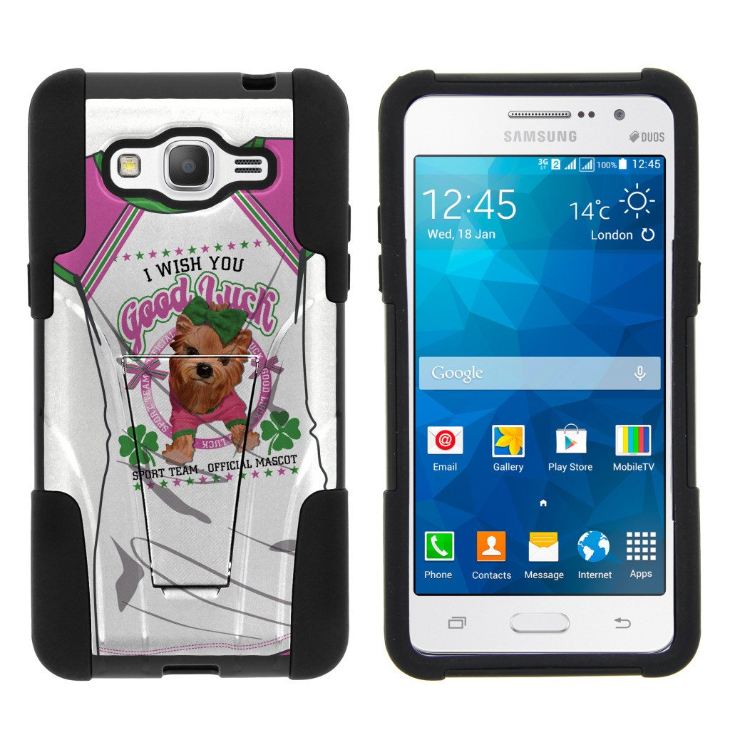 Samsung Galaxy Grand Prime G530 STRIKE IMPACT Dual Layer Shock Absorbing Case with Built-In Kickstand - Pink Pup Mascot