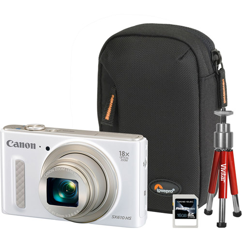 Canon White PowerShot SX610 HS Digital Camera Bundle with 20.2 Megapixels and 18x Optical Zoom