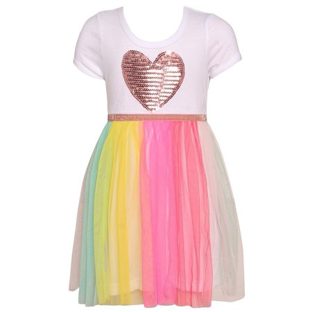 Girls White Multi Glitter Heart Sequin Applique Easter Dress](Glitter Dresses For Girls)