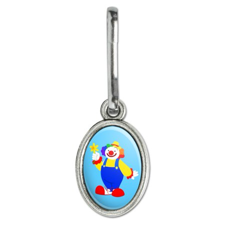 Clown with Flower and Big Shoes Antiqued Oval Charm Clothes Purse Suitcase Backpack Zipper Pull Aid Clown Musical Pull