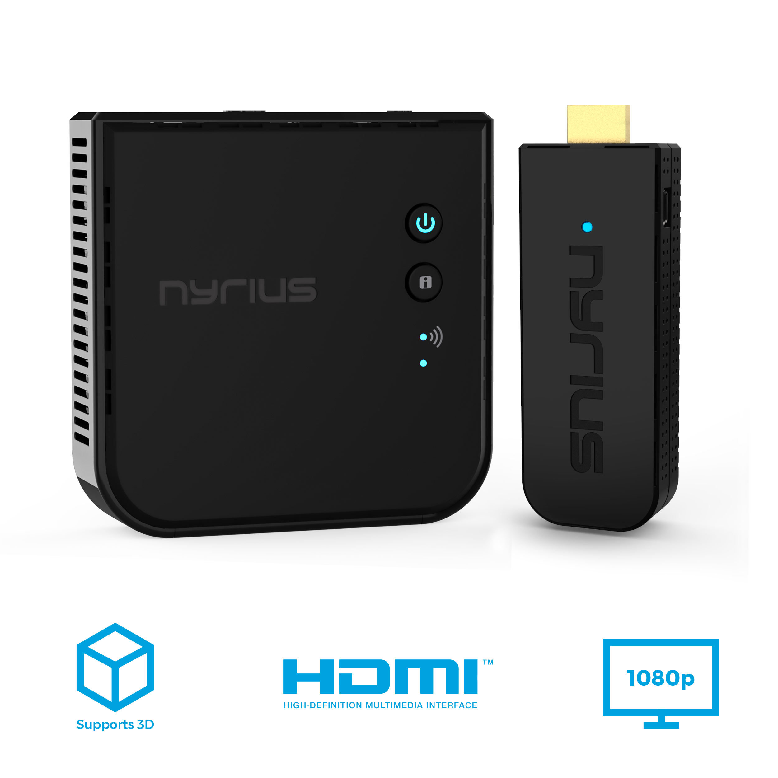 Nyrius ARIES Pro Wireless HDMI Transmitter and Receiver To Stream HD 1080p 3D Video From Laptop, PC, Cable, Netflix, YouTube, PS4, Xbox 1, Drones, Pro Camera, To HDTV/Projector/Monitor (NPCS600)