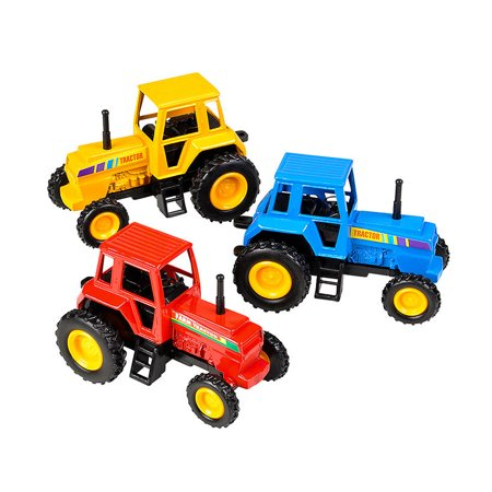 Pull Tractor Feed (Vehicles Die Cast Pull Back Farm Tractors 3 Pack Set)