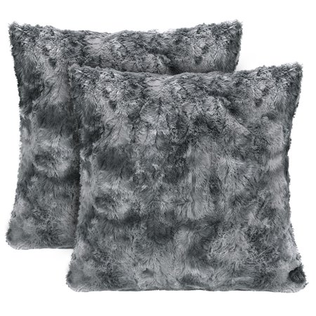 Super Soft Fuzzy Faux Fur Cozy Warm Fluffy Dark Gray Fur Throw Pillow Cover Pillow Sham -Charcoal Gray Pillow Sham 18x18 Inches(Pillow Insert Not Included) Waivy Fur Pattern 2-Pack ()
