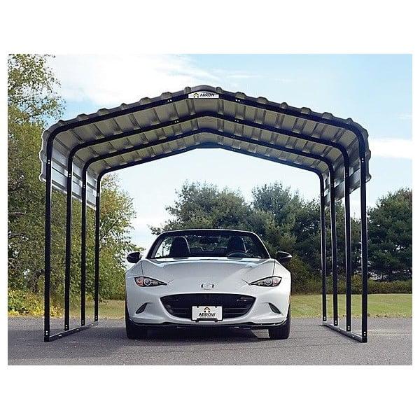 ShelterLogic Arrow 10'W x 15'L x 7'H 3.7 x 4,6 x 2.1 m Steel Auto Carport Kit Eggshell Finish