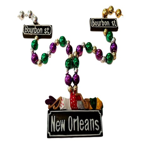 New Orleans Bourbon Street Casino Mardi Gras Bead Necklace