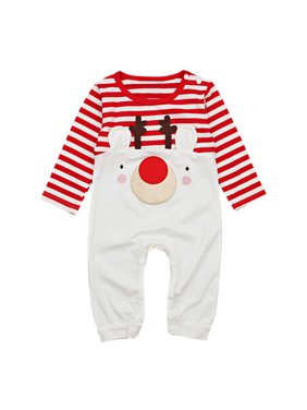 cbee8f91dbdb Product Image Babys Long Sleeve Reindeer Stripes Romper Jumpsuit Christmas  Outfits 0-6 Months. Gaono