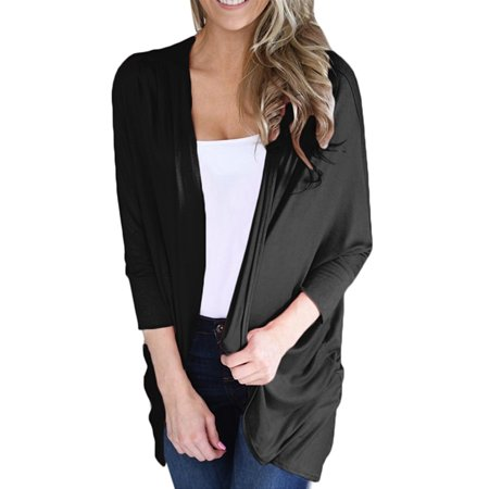 Women Solid 3/4 Sleeve Tops Casual Loose Cardigan