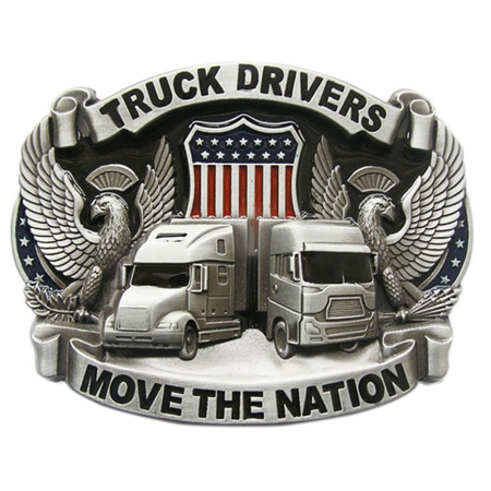 Western Men's Zinc alloy Leather Belt Buckle Vintage Truck Drivers Pattern ()