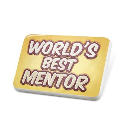 Porcelein Pin Worlds best Mentor, happy yellow Lapel Badge –