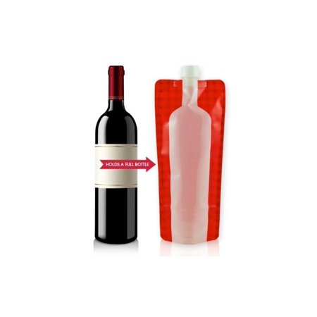 Wine on The Run™ Reusable Foldable Wine Flask Hold full 750ml Bottle of Wine - Red/White
