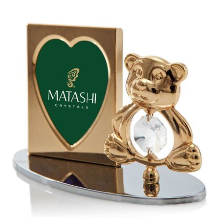 Matashi Crystal 2 Piece Crystal Decorated Teddy Bear Figurine and Picture Frame Set ()