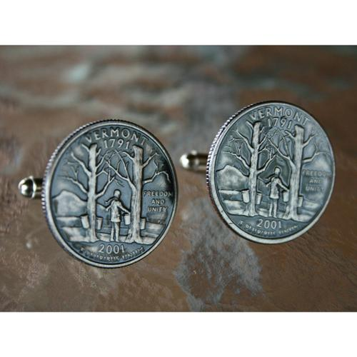 Bouncers Unlimited Handmade Antiqued Silvertone Men's Vermont State Quarter Cuff links