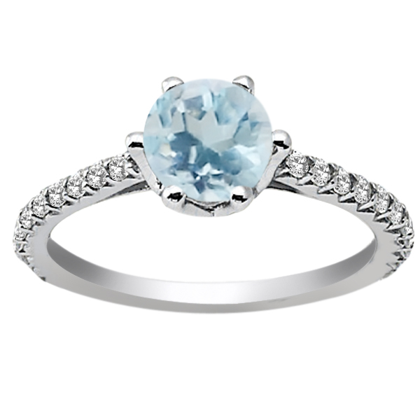1.19 Ct Round Sky Blue Aquamarine White Topaz 14K White Gold Engagement Ring by