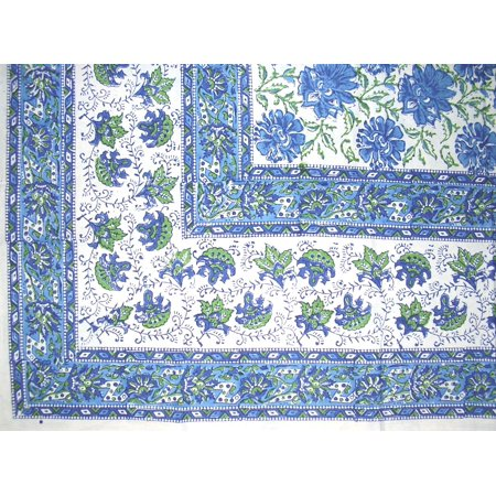 Lotus Flower Block Print Floral Square Cotton Tablecloth 60