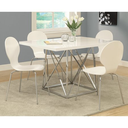 Monarch Kingsville White 5 Piece Modern Dining Set With Bentwood Stools