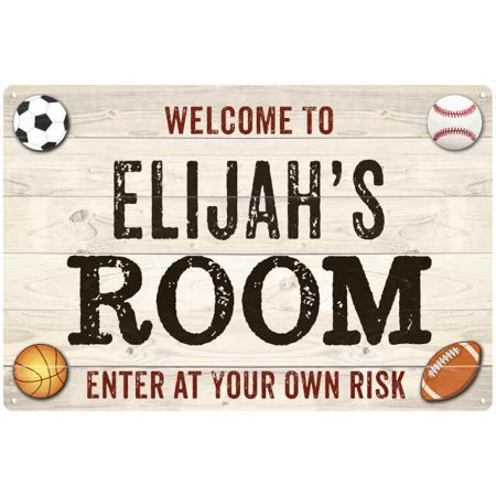 Kids Personalized Sign - ELIJAH'S Room Kids Bedroom Sign Boy's Personalized 8x12 Metal 208120090032