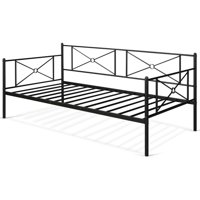 Gymax Twin Size Metal Daybed Frame Multifunctional Platform Bed Stable Steel Slats
