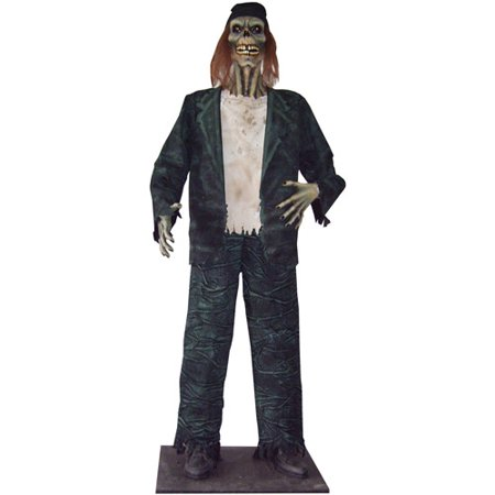 6' Zombie Drifter Halloween Prop with LED Eyes
