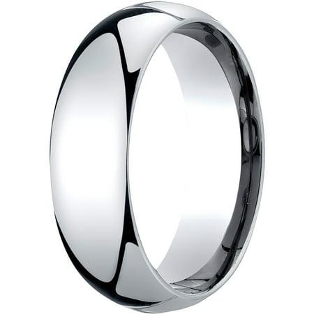Mens Platinum, 7mm Slightly Domed Standard Comfort-Fit Wedding Band