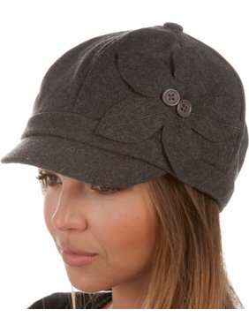 Sasha Wool Newsboy Cabbie Hat with Button Flower - Charcoal - One Size