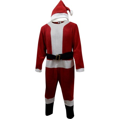 Santa Claus Adult Onesie Pajama with Hat - Glow In The Dark Onesie For Adults