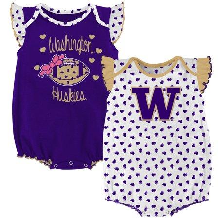 Washington Huskies Girls Infant Heart Fan Bodysuit Set - White/Purple Washington Huskies Fan