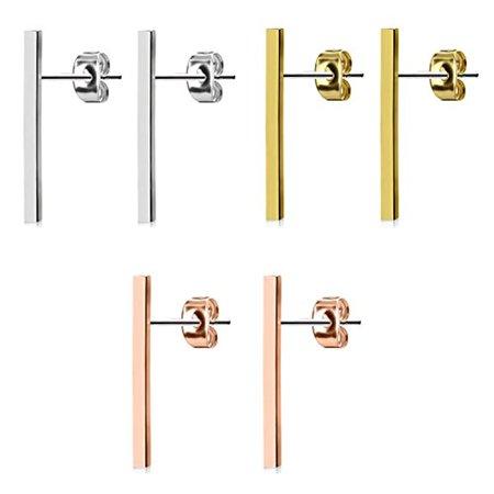 BodyJ4You 3-Pair Long Bar Earrings Studs Brushed Finish 20mm Set Stainless Steel Post Ear Stud Women
