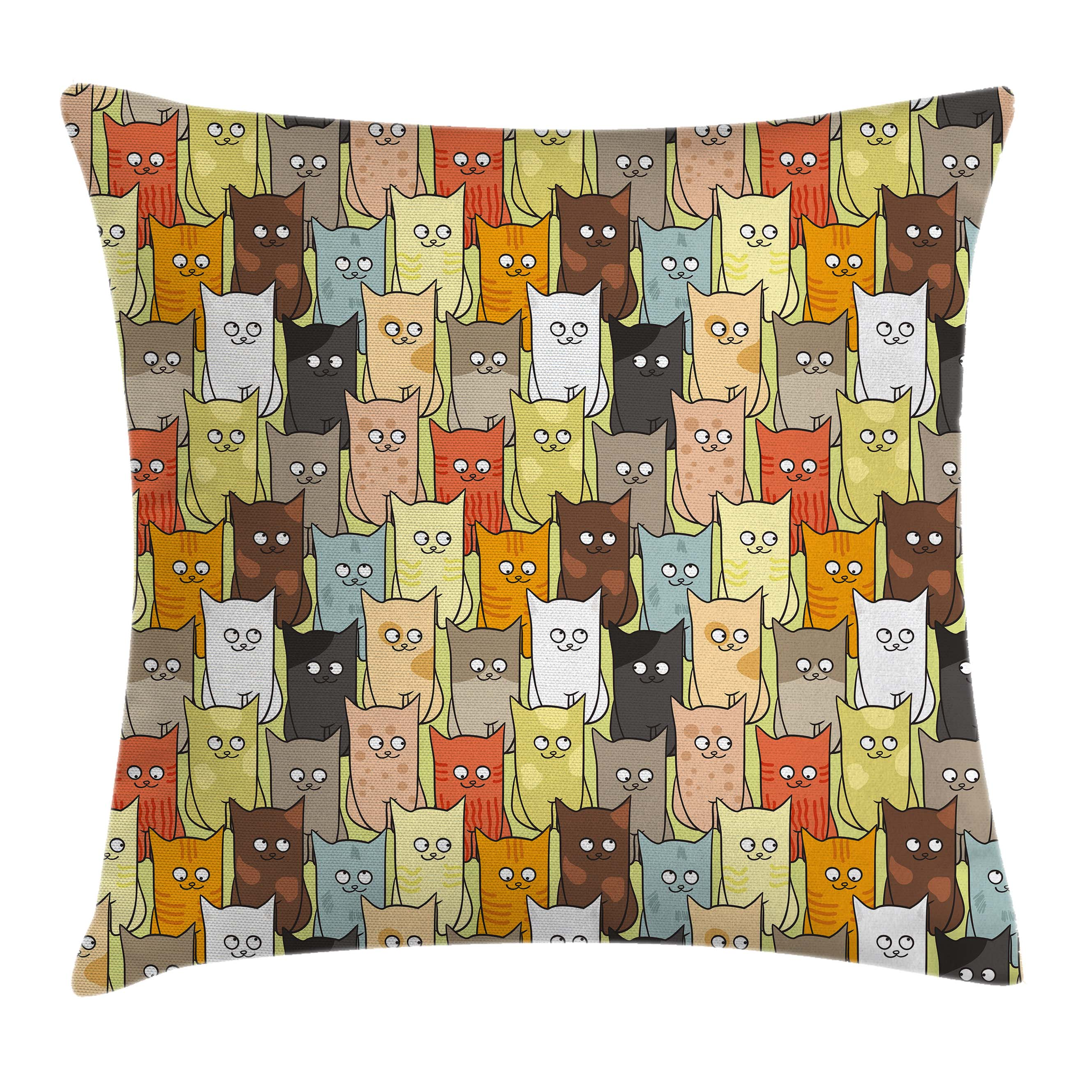 Cats Throw Pillow Cushion Cover, Funny Cute Colorful Graphic Kittens Cartoon Style Boys Girls Kids Playroom Nursery, Decorative Square Accent Pillow Case, 20 X 20 Inches, Multicolor, by Ambesonne