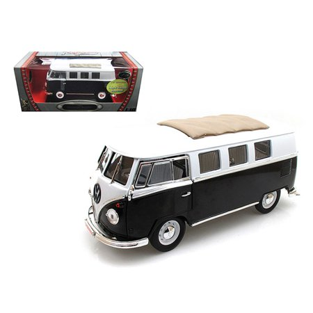 1962 Volkswagen Microbus Black with Sliding Fabric Sunroof Limited Edition to 600pc 1/18 Diecast Model by Road Signature - image 1 of 1