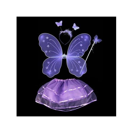 SUPERHOMUSE 4Pcs Fairy Kids Girl's Princess Butterfly Party Costume Wings Wand Headband Tutu Skirt Little Fairy Butterfly Wings