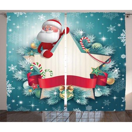 christmas decorations curtains 2 panels set santa claus star banner snowflakes ribbon and candy cane - Teal And Red Christmas Decorations