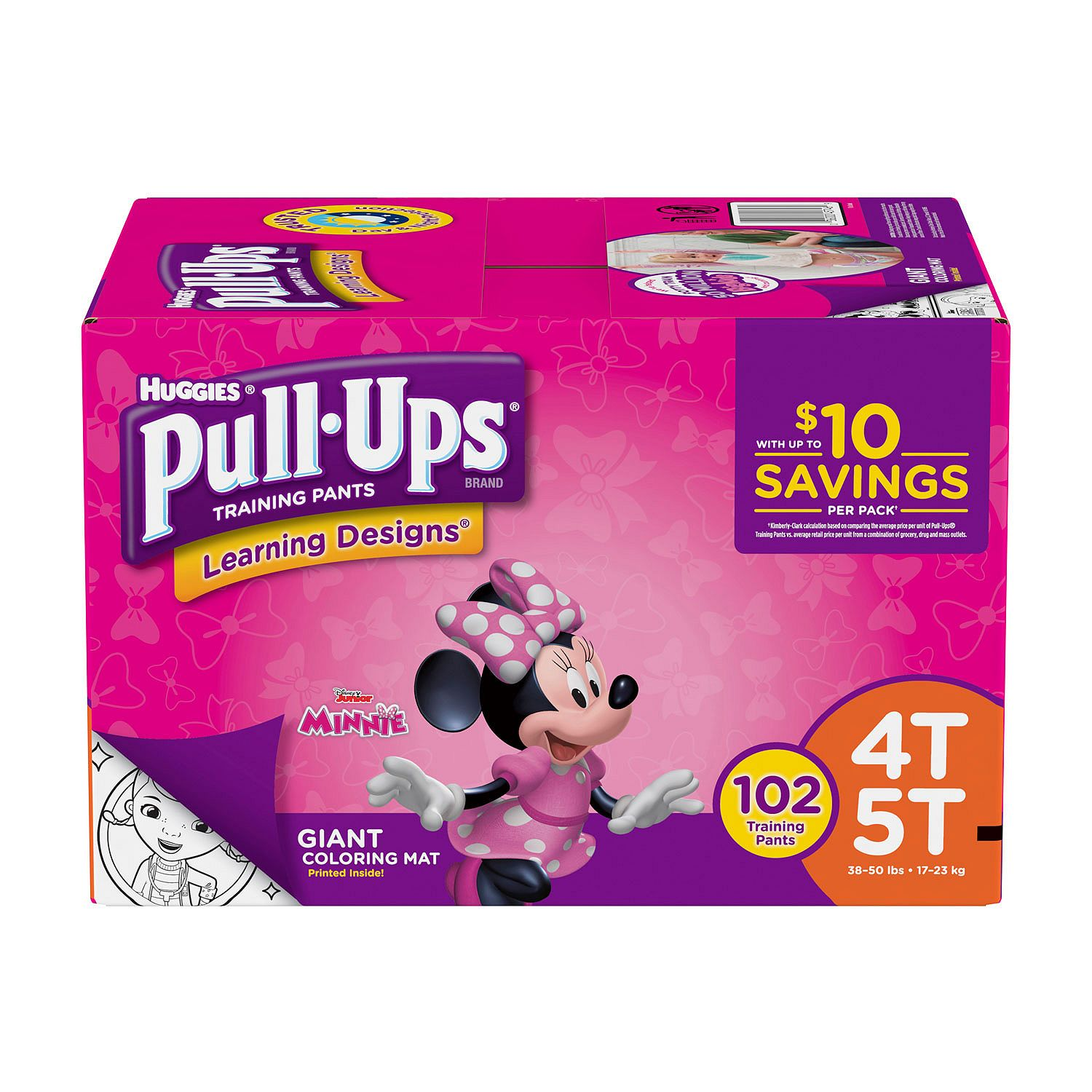 Huggies Pull-ups Training Pants for Girls Size 4T/5T ( Weight 102 ct.) - Bulk Qty, Free Shipping - Comfortable, Soft, No leaking & Good nite Training Pants