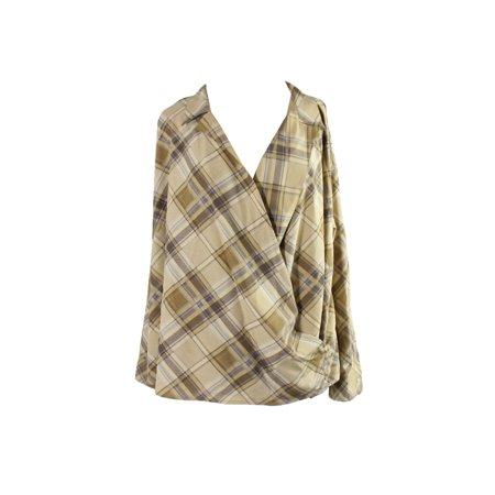 Lauren Ralph Lauren Plus Size Brown Multi Plaid Crepe Wrap Shirt 2X