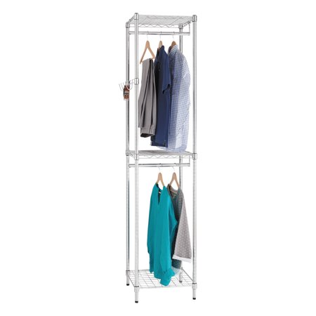 Alera Wire Shelving Garment Tower, 18w x 18d x 81 3/4h, Silver